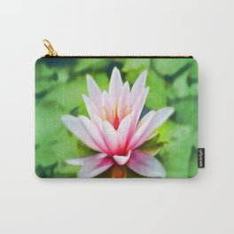 Pink Lotus Waterlily & Green Lily Pads Carry-All Pouch
