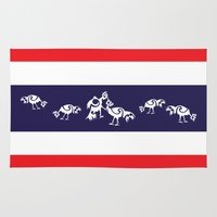 thailand Area & Throw Rugs featuring Thailand Flag, Roosters Sparring by mailboxdisco