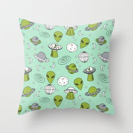 Alien outer space cute aliens french fries rad sodas pattern print mint Throw Pillow