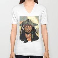 jack sparrow V-neck T-shirts featuring Captain Jack Sparrow by marysiak