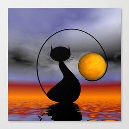 mooncat's balance Canvas Print