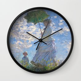 1875-Claude Monet-Woman with a Parasol - Madame Monet and Her Son-81 x 100 Wall Clock