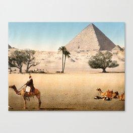 Vintage Pyramid : Grand Pyramid Gizeh Egypt 1895 Canvas Print