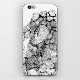 Watercolor abstract bubble splashing paint black gray ink isolated on white background iPhone Skin