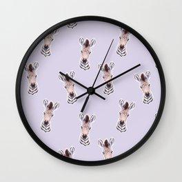 Zebra Light Purple Pattern, Safari Baby Animals, Cute Nursery Animals Baby Room Decor Wall Clock