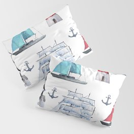Seamless Watercolor Painting of Nautical Themed Sailboats Lighthouses Anchors Ocean Waters Pillow Sham