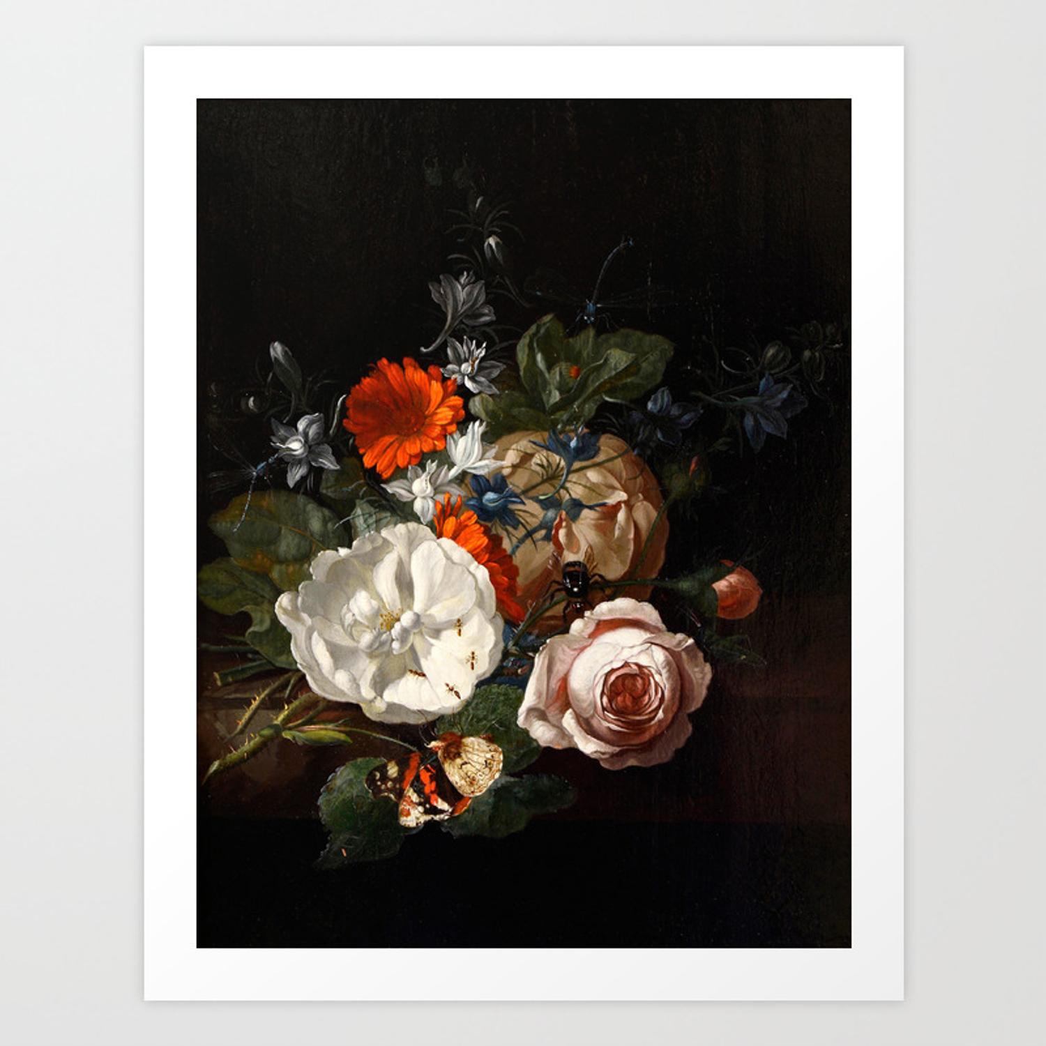 Dark Floral Oil Painting Art Print By Fineearthprints Society6