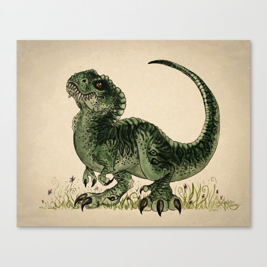 """Baby T-Rex"" by Amber Marine ~ watercolor and ink, (c) 2013 Canvas Print"