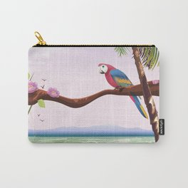 Barbados vintage parrot travel poster Carry-All Pouch