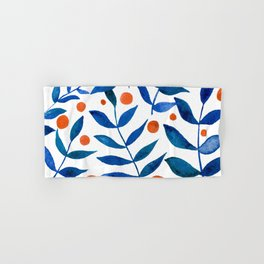 Watercolor berries and branches - blue and orange Hand & Bath Towel