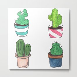 1 Cactus, 2 Cacti, 3 Cacti Four- Watercolor Design Metal Print