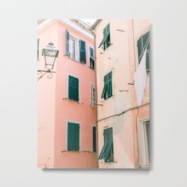 Colorful street in Italy | Pink Walls Italy | Fine Art Travel Print Metal Print