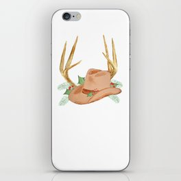Cowboy Hat with Antlers Christmas iPhone Skin