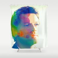 castiel Shower Curtains featuring Castiel  by mishainmydreams