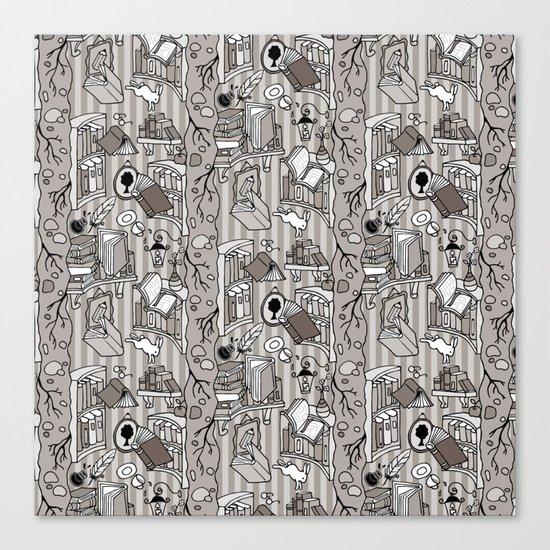 Books: Through the rabbit hole_Warm Gray Canvas Print