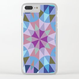 Lavender Retro Geometry Clear iPhone Case