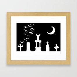 The Graveyard By Moonlight Framed Art Print