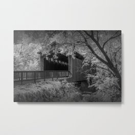 Ada Michigan Covered Bridge on the Thornapple River in Black & White Metal Print