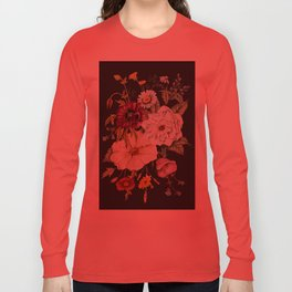 Colorful Wildflower Bouquet on Charcoal Black Long Sleeve T-shirt