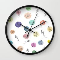 plane Wall Clocks featuring Plane by Infra_milk