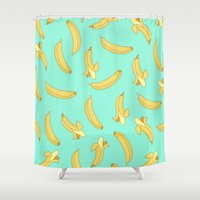 banana Shower Curtains featuring BANANA by Céline Dscps