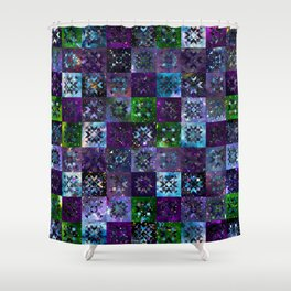 Cool Colors Galaxy Quilt Pattern Shower Curtain