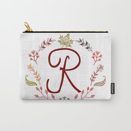 Floral R letter Carry-All Pouch