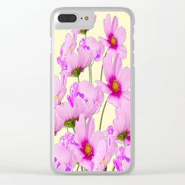 FUCHSIA PINK COSMOS FLOWERS  ON CREAM Clear iPhone Case