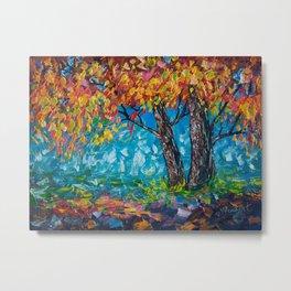 SUNRISE TREE (Palette Knife) Metal Print