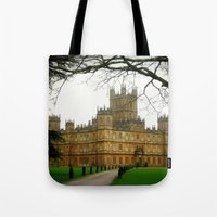 downton abbey Tote Bags featuring Downton Abbey Licious  by seardig