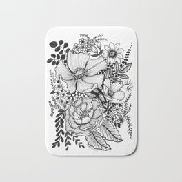 Mixed Floral Doodle in Black and White Bath Mat
