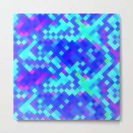 Blue Purple Bright Square Pattern Metal Print