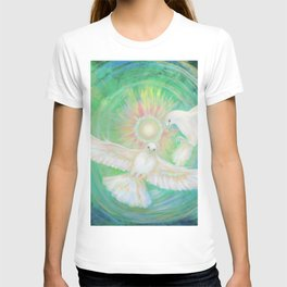 Doves, healing, green energy T-shirt