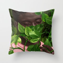 Green Mask Throw Pillow