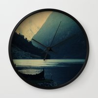 mountains Wall Clocks featuring mountains by Ingrid Beddoes