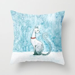 Winter Cat Throw Pillow
