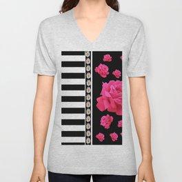 BLACK & WHITE ROSE  PATTERNED ART Unisex V-Neck