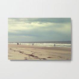 Empty Beach and Fishermen Metal Print