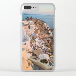 Grecian Sunset in Santorini, Greece Clear iPhone Case