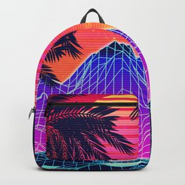 Neon glowing grid rocks and palm trees, futuristic landscape design Backpack