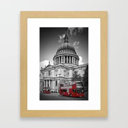 LONDON St. Paul's Cathedral & Red Bus Framed Art Print