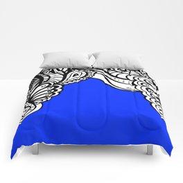 Blue Royal Doodle Artwork Comforters