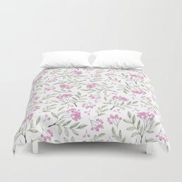 Modern pastel pink green watercolor berries floral Duvet Cover