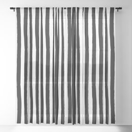Black and White Cabana Stripes Palm Beach Preppy Sheer Curtain