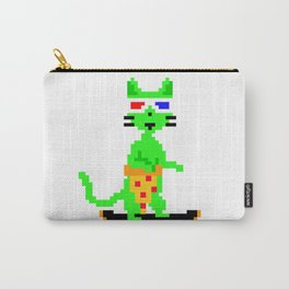 """""""Psychedelic Skateboarding Pixel Pizza Cat"""", by Brock Springstead Carry-All Pouch"""