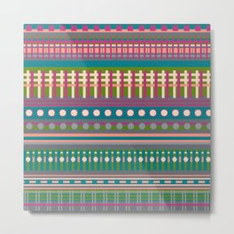 DDROPP - Pattern, Stripes, Geometric, Circles, Green Metal Print
