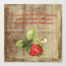 Strawberry Strawberries Fruits Summer Typography and Illustration Canvas Print