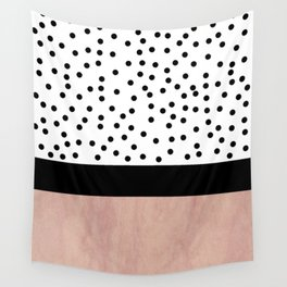 Pink marble and dots Wall Tapestry