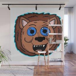 Cartoon Lion Head Wall Mural