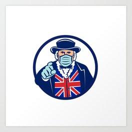 John Bull Wearing Surgical Mask Pointing Mascot Art Print